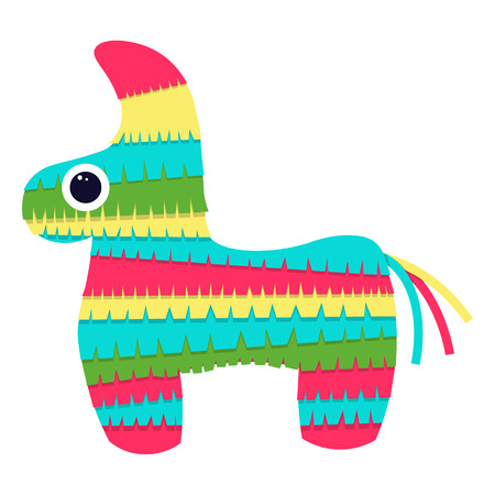 pinata: pinata isolated on white background .Vector bright striped colorful pinata Illustration
