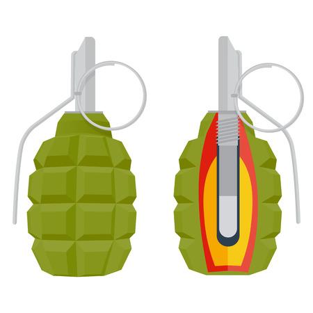 lanzamiento de bala: ilustración granada de mano. granada aislado en el fondo blanco