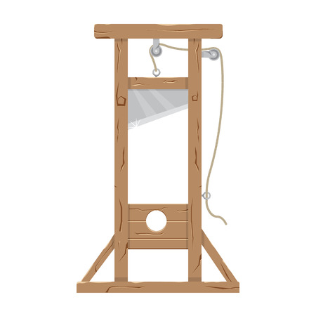 guillotine: Guillotine vector illustration. Guillotine with a raised knife. Tool to perform executions. Guillotine isolated on a white background.