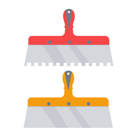 patching: Putty knife vector illustration. notched trowel isolated on a white background