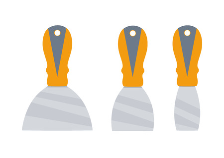 scraper: Putty knife set vector illustration. putty knife isolated on a white background Illustration