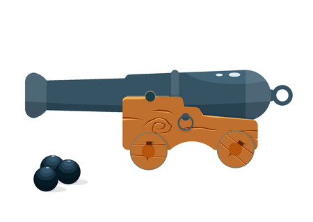 wheel barrel: old naval cannon vector illustration. naval gun isolated on a white background