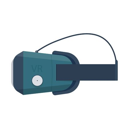 stereoscopic: stereoscopic 3d vr mask with headphones. vr goggles vector illustration Isolated on white background. Illustration