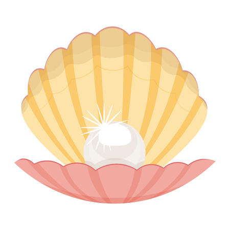 pearl shell: pearl in a shell vector illustration isolated on a white background