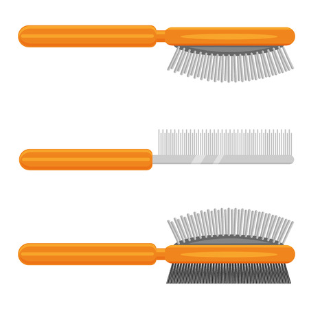 personal grooming: Pet brush vector illustration isolated on a white background
