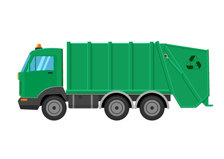recolector de basura: Garbage truck vector illustration isolated on a white background