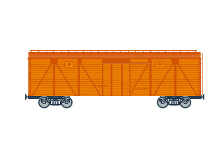 boxcar train: Freight railroad car. isolated on white background. Freight railroad car. illustration. Freight railroad car.Wooden boxcar isolated vector Illustration