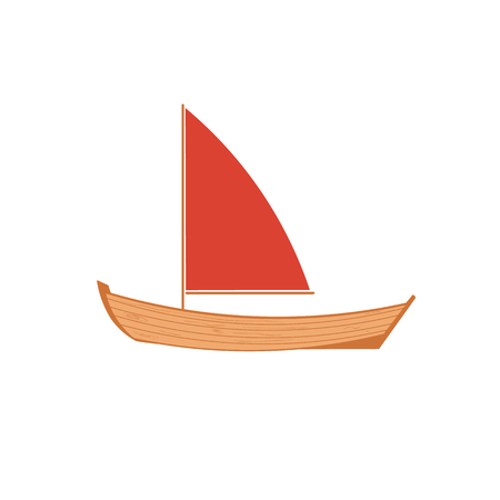 A wooden sailboat on a white background.  Wooden boat isolated.  Boat vector isolated.