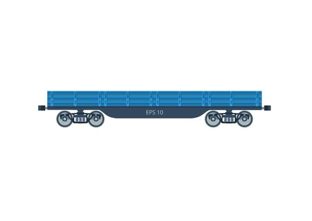 boxcar: Freight railroad car. The type of freight car a boxcar. Blue boxcar. Boxcar vector isolated. Freight railroad vector isolated.