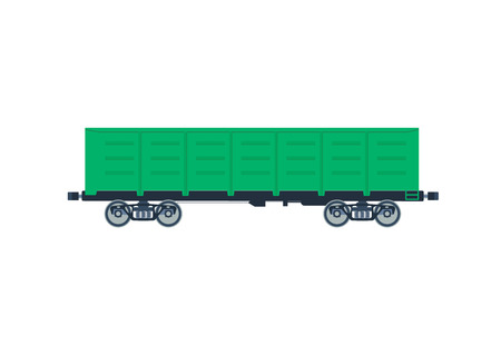 flatcar: Freight railroad car. The type of freight car a boxcar. Green boxcar. Boxcar vector isolated. Freight railroad vector isolated.