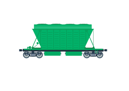 flatcar: Freight railroad car. The type of freight car a boxcar. Grain wagon boxcar. Boxcar vector isolated. Freight railroad vector isolated.