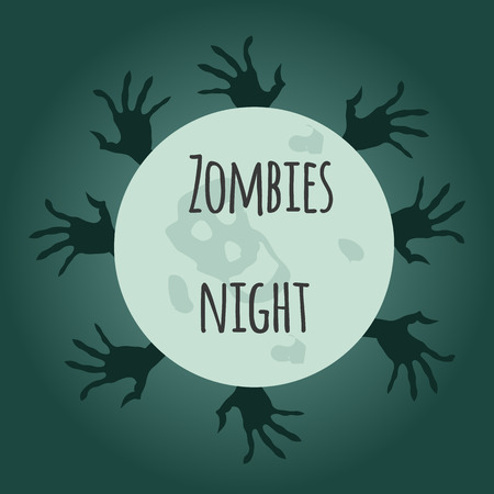 night and day: Zombie night day cartoon vector illustration. monster hand