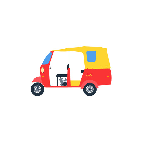 three wheeler: Auto rickshaw illlustration . Rickshaw vector icon isolated.Baby taxi auto rickshaw tuk tuk three wheeler tricycle.