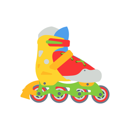 roller skate: Roller skates illlustration . Roller skate vector icon isolated. Flat style roller skate. Yellow and red roller.