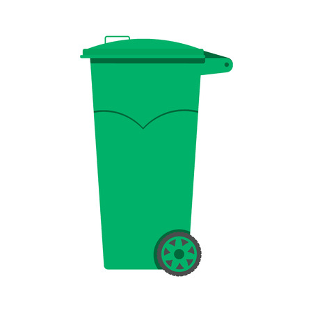 crushed aluminum cans: Trash can vector illustration, flat design. Illustration