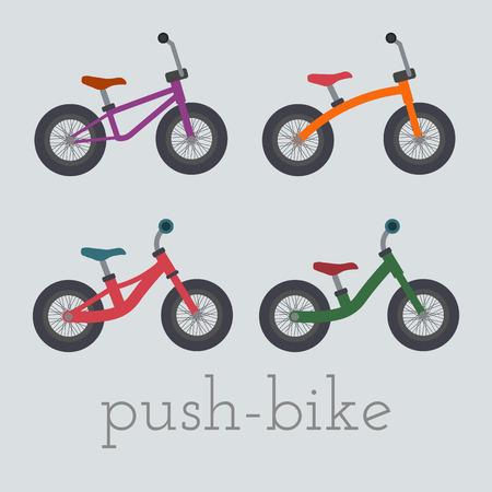 Vector push-bike set illustration.