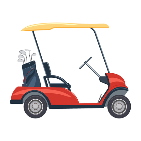 rode golfkar illustratie. golf auto die op een witte achtergrond