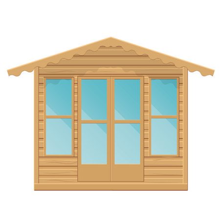 timbered: Gazebo vector illustration.Summerhouse on a white background.