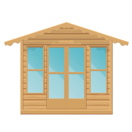 Gazebo vector illustration.Summerhouse op een witte achtergrond.