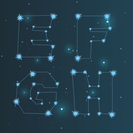 costellazioni: Vector illustration of the alphabet ABCD . Set of letters . Font of the constellations . Abstract background. The night sky.