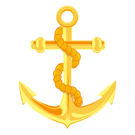 ship anchor: Gold anchor vector illustration isolated on a white background Illustration