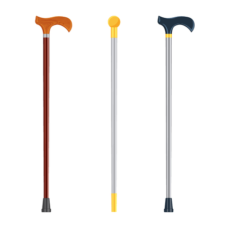 crook: Walking sticks vector illustration isolated on a white baskground Illustration