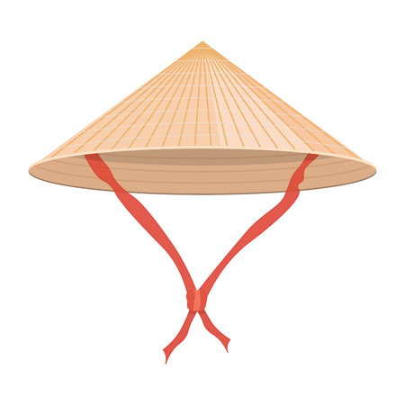 conical: Chinese conical straw hat illustration isolated on a white background