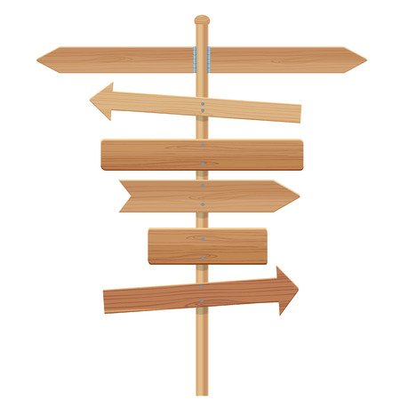 wooden signpost illustration isolated on a white background
