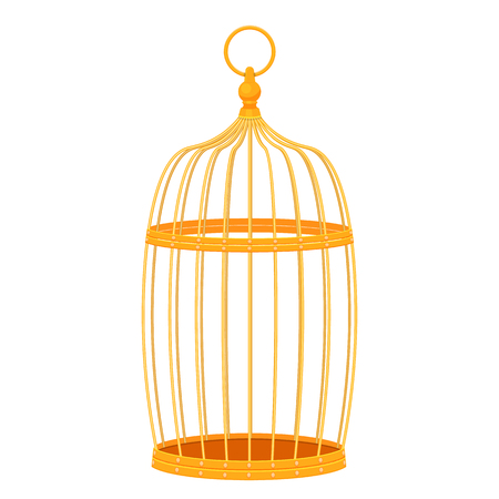 caged: Decorative golden bird cage illustration isolated on a white background