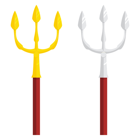 gold and silver trident illustration isolated on a white background