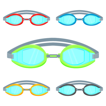 swimming glasses: Pool goggles illustration isolated on a white background set . Colorful Swimming glasses flat icon Illustration