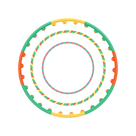 hula hoop: Multicolor plastic  hoop set illustration isolated on a white background