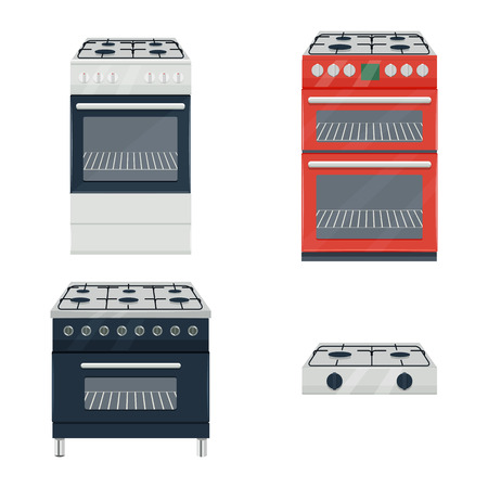 gas cooker set illustration isolated on a white background