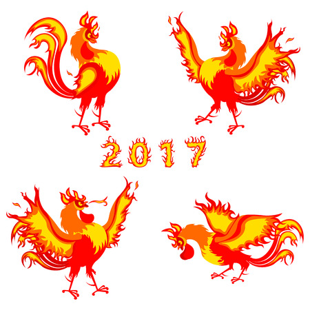 Fire rooster, symbol of 2017 on the Chinese calendar illustration isolated on a white background 向量圖像
