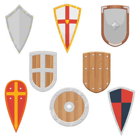 Knight Shields set from the Middle Ages illustration isolated on a white background Illustration