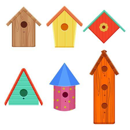 colorful bird houses set illustration isolated on a white background 向量圖像