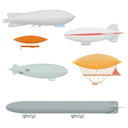 blimp: Dirigible set illustration isolated on a white background