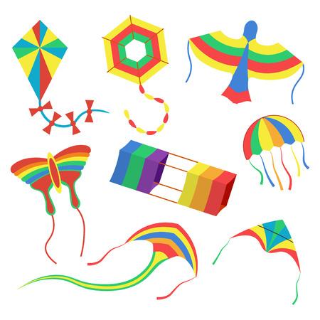 colorful kites set illustration isolated on a white background