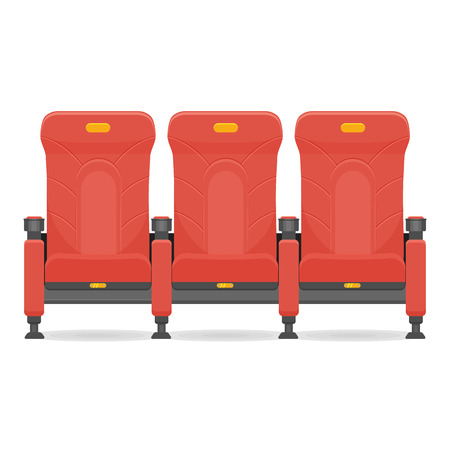 red comfortable realistic cinema seat illustration isolated on a white background