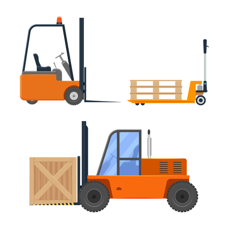 Forklift truck set illustration isolated on a white background Illustration