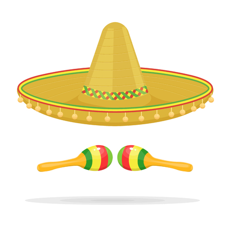 Mexican sombrero with maracas illustration isolated on a white background Illustration