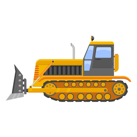 dredger: bulldozer illustration isolated on a white background