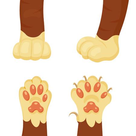 Cat foot cartoon illustration isolated on a white background Illustration