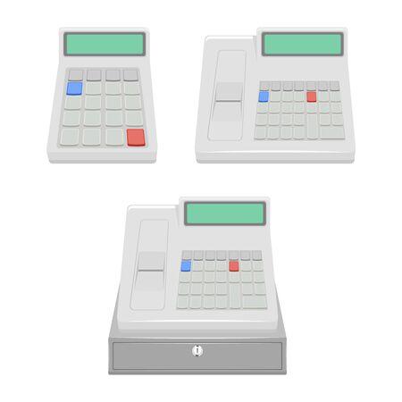 cash register set illustration isolated on a white background. 向量圖像