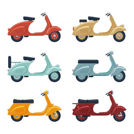 vintage scooter set illustration isolated on a white background 向量圖像
