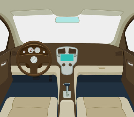 grey car interior cartoon a illustration