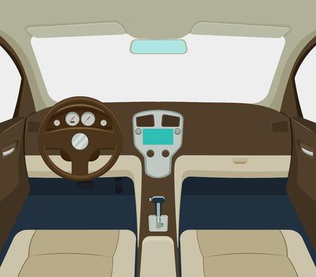 grijze auto interieur cartoon een illustratie
