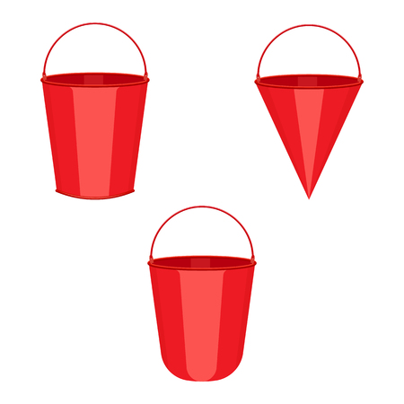 red metal fire buckets set illustration isolated on a white background