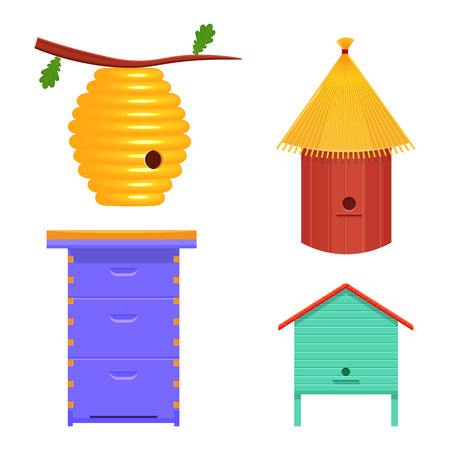 beehive set vector illustration. hive isolated on a white background