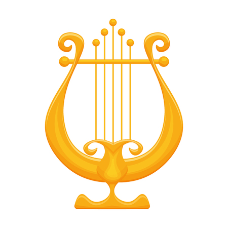 Golden Lyre vector illustration isolated on a white backdrop
